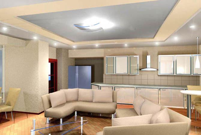 Натяжные потолки - фото 120 идей дизайна потолка для зала